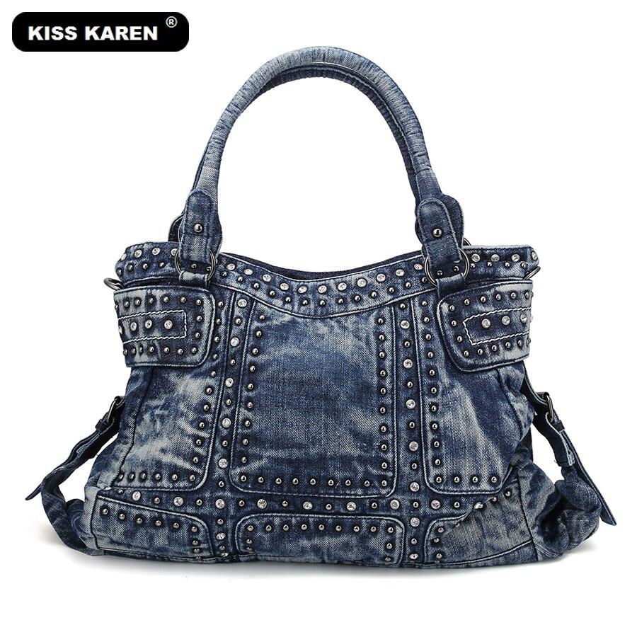 KISS KAREN Vintage Fashion Women Bag Denim Women Tote Bags Diamond Rivet Jeans Women s Handbags