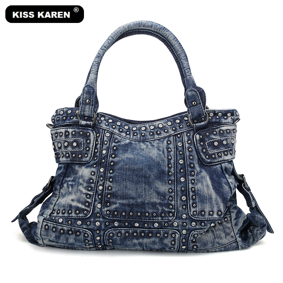 KISS KAREN Vintage Fashion Women Bag Denim Women Tote Bags Diamond Rivet Jeans Women's Handbags Women's Shoulder Bag Casual Tote