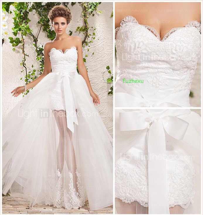 משלוח חינם 2015 vestidos דה festa vestido חדש להסרה קצר לבן שנהב תחרת אפליקציות מתוקה שמלות כלה מותאמת אישית