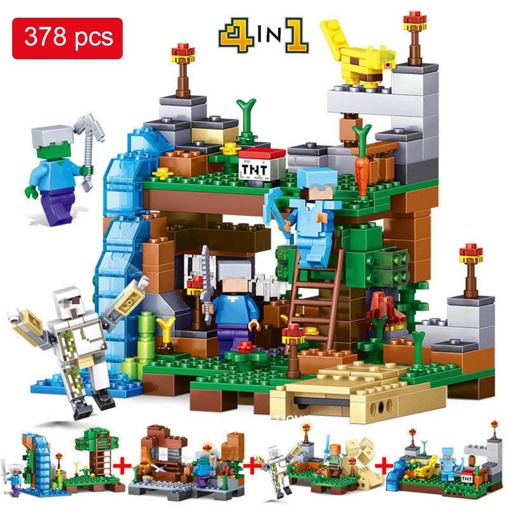 378pcs Minecrafted Figures Building Blocks Mine World 4 in 1 Garden City Building Bricks font b