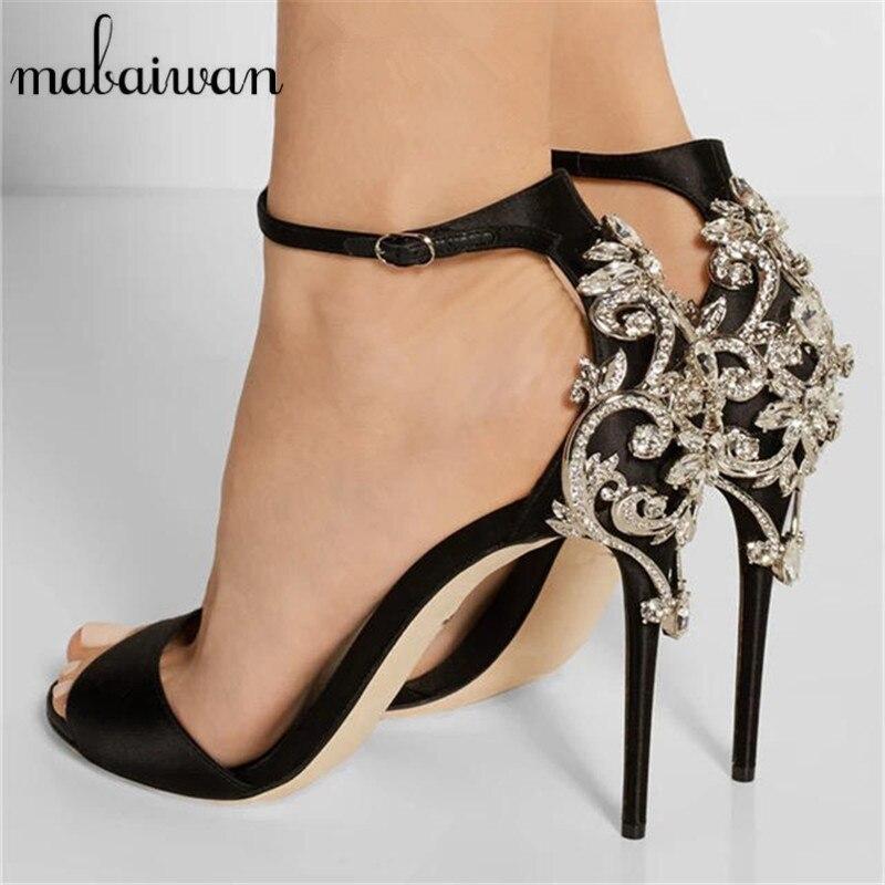 ФОТО Sexy Black Peep Toe Women High Heels Mary Janes Satin Gladiator Sandals Rhinestone Wedding Dress Shoes Women Pumps Zapatos Mujer