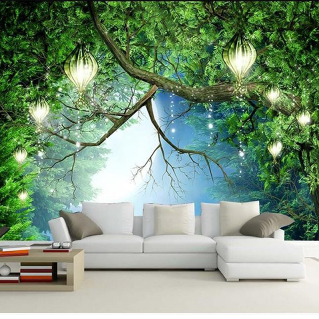 3d wallpaper beautiful nature scenery fluorescent mural Nature bedroom