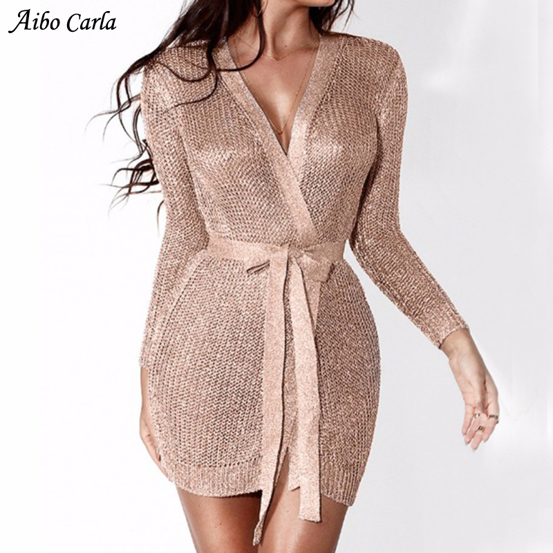 Dress Deep Party Club Bodycon Sweater Knitted V Sexy pSVGqUzM