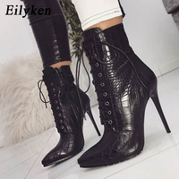 Eilyken Snakeskin grain Ankle Boots For Women High heels Fashion Pointed toe Ladies Sexy shoes 2019 New Lace Up Boots Size 35 42