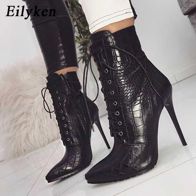 Eilyken Snakeskin tahıl yarım çizmeler kadınlar için yüksek topuklu moda sivri burun bayanlar seksi ayakkabılar 2020 yeni dantel-up çizmeler boyutu 35-42