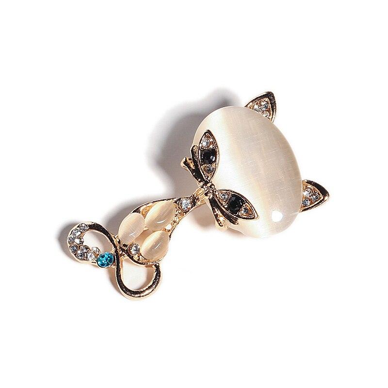 Nova moda venda quente ouro cor cheia multicolorido opala pedra raposa broches moda feminina bonito animal cristal pino broche jóias