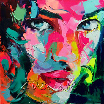 Palette knife painting portrait Palette knife Face Oil painting Impasto figure on canvas Hand ainted Francoise Nielly 16-12