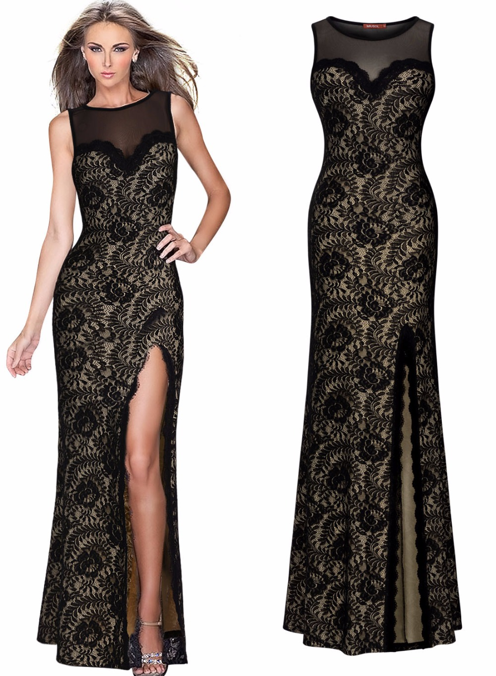 New Black Pearl Women Elegant Lace Stitching Sexy Split -6138
