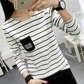 2xl más tamaño grande tops blusas feminina primavera otoño invierno 2016 mujeres de la moda coreana de rayas de manga larga Camiseta femenina A1410