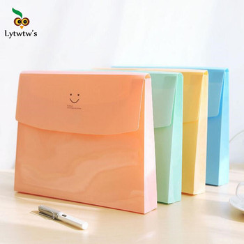 1 Pieces Lytwtw's New Cute Smile Pouch Bag Case Kawaii Korean Office School Filing Products Document 1