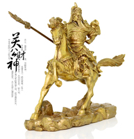 A horse like the statue of Guan Gong Guan copper ornaments knife Zhaocai Fortuna Wu brass decoration house decoration