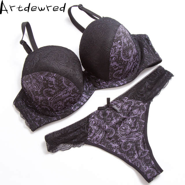 Sexy Thong Lace Push Up Bra Set Lingerie Women Underwear Sets Intimates  Embroidery Floral Black White f86fc88f5