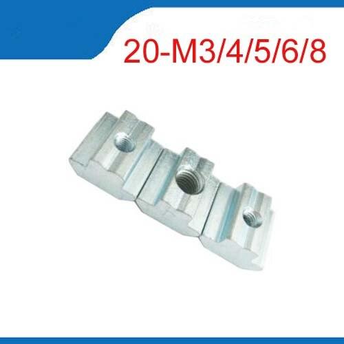 nut m3 20pcs/lot T Sliding Nut Block Square nuts M3 M4 M5 M6 for 2020 Aluminum Profile Slot 6 Aluminum connector Accessor