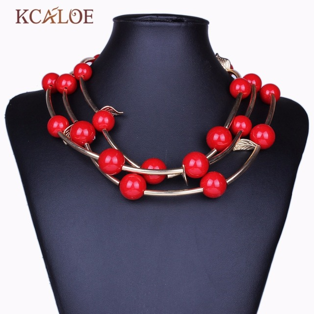 2017 New Multi-layer Acrylic black Red Beads Women Luxury Bohemia Statement Collar necklaces & pendants Jewelry