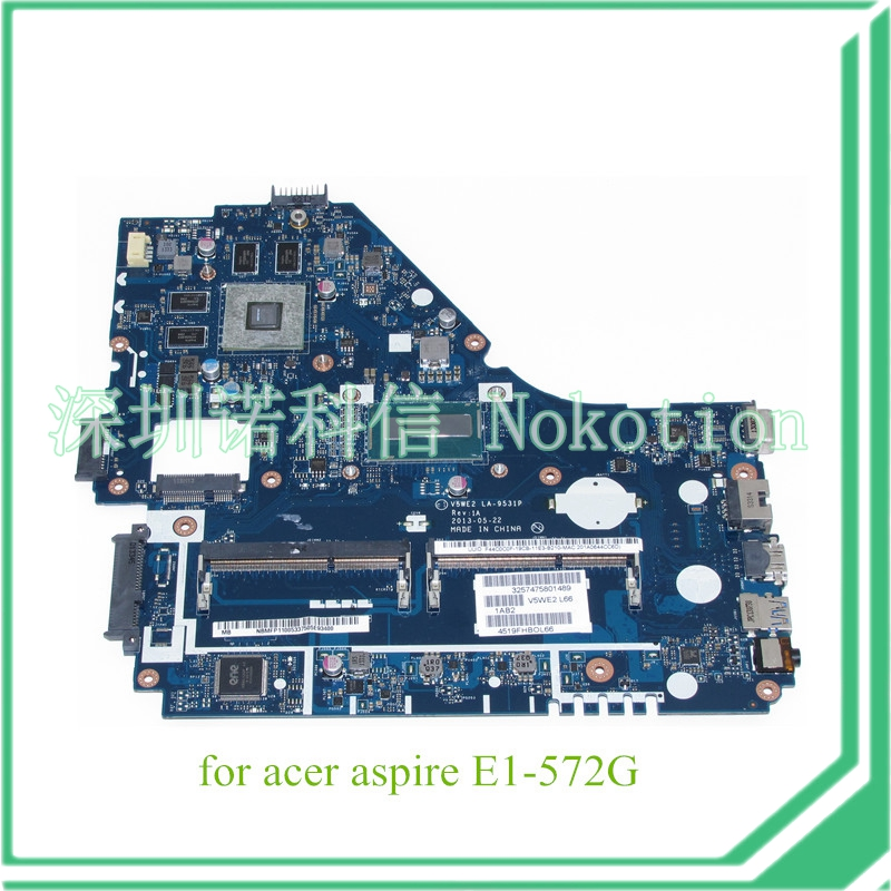NOKOTION V5WE2 LA-9531P REV 1A NBMFP11005 NB.MFP11.005 For acer aspire E1-572G laptop motherboard core i5-4200U 8670M Graphics original laptop motherboard for acer e1 571 q5wv1 la 7912p rev 2 0 nbm6b11001 nb m6b11 001 gt710m non integrated graphics card