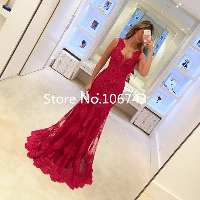 Vestido Longo Mermaid Evening Red Lace See Through Sexy Women Burgundy Prom Floor Length Formal Gown mother of the bride dress