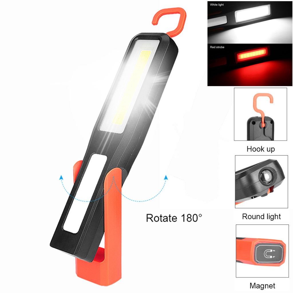 COB LED RECHARGEABLE CORDLESS WORK LIGHT GARAGE INSPECTION LAMP TORCH MAGNETIC