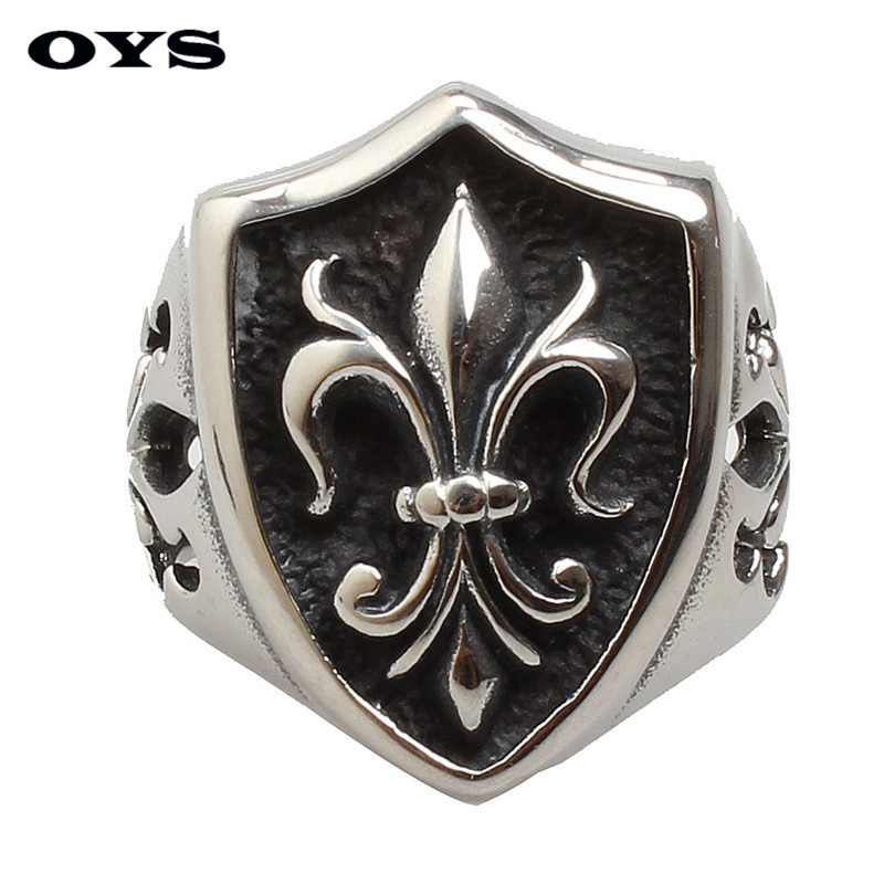 Fleur De Lis Soldier Shield Ring For Boy Stainless Steel Retro Designer Cool Rings For Man Hot Sell Steel Jewelry Wholesale