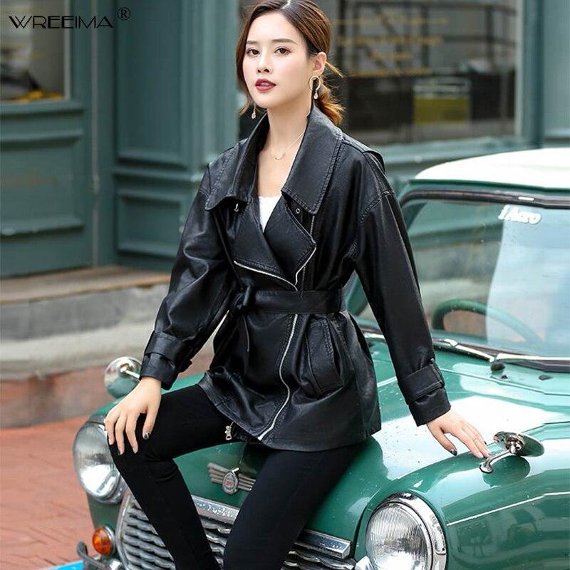 Oversize   Leather   Jacket Women Black Coat Moto Jacket Elegant PU   Leather   Coats Autumn Long Female Zipper Oversized Blazer Loose