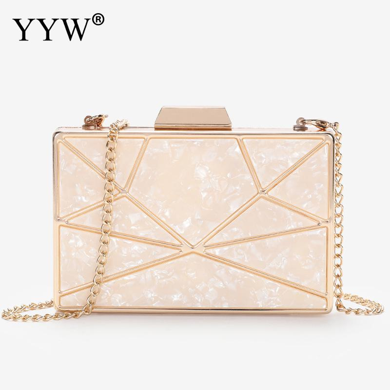 Hot Pink Acrylic Geometric Women Clutch Bags Fashion Designer Evening Party Wedding Bags Purse Handbags Clutches Yellow 2019 in Top Handle Bags from Luggage Bags