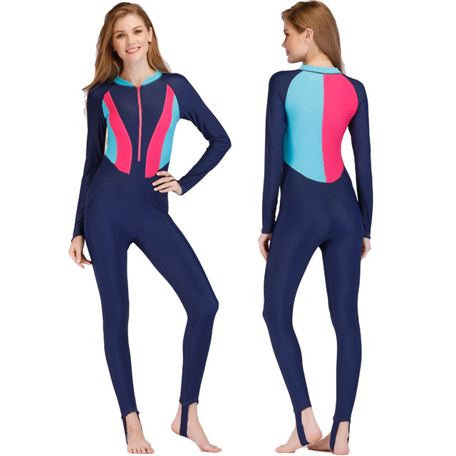Full Body Wetsuit Women Long Sleeve Diving Suit Color Diving Snorkeling  Water Sport Equipment Sailing Clothing Surfing Wetsuit 405a9adea
