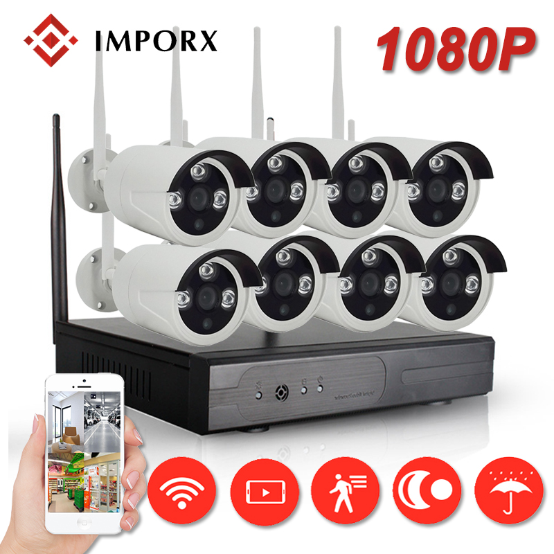 2MP 1080P Wireless CCTV Home Security Camera System NVR 8CH IP CCTV Kit P2P IR Night Vision Plug And Play Surveillance Wifi Kit