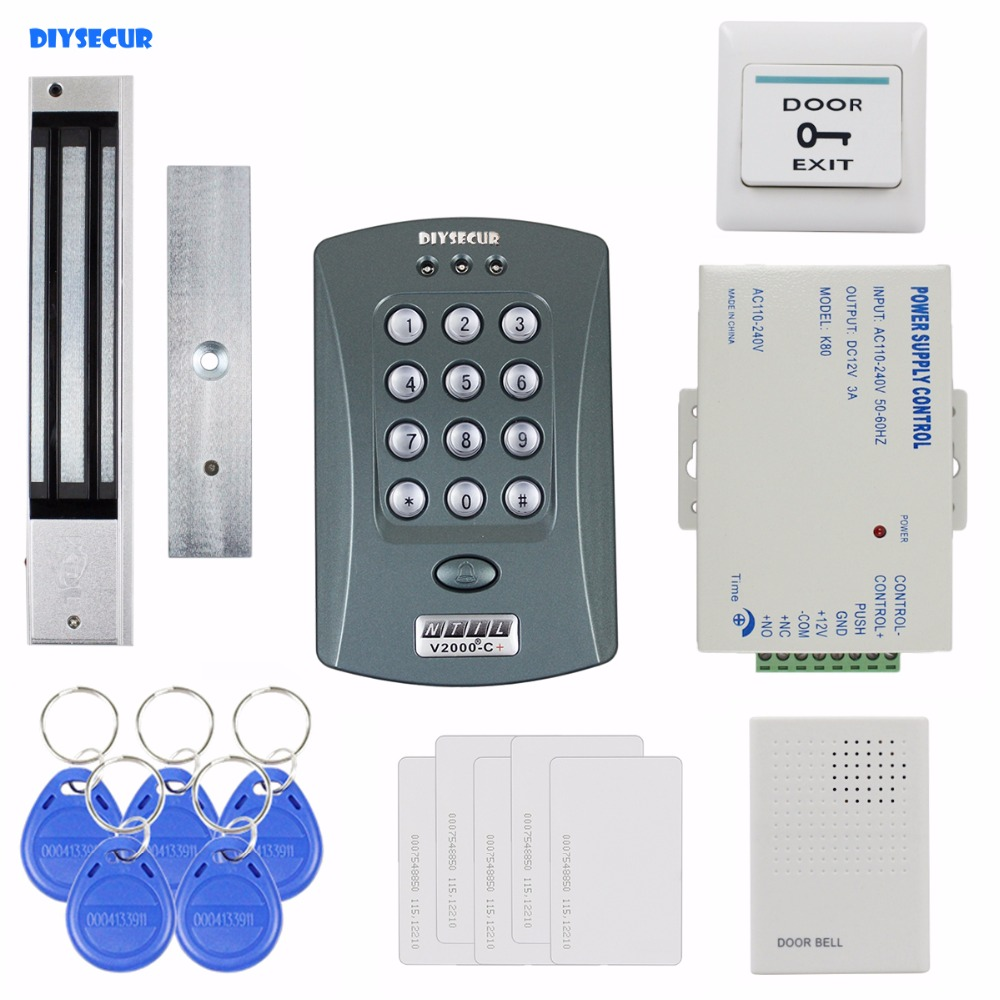 DIYSECUR 280kg Magnetic Lock ID Card Reader Password Keypad Access Control System Security Kit + Door Bell V2000-CDIYSECUR 280kg Magnetic Lock ID Card Reader Password Keypad Access Control System Security Kit + Door Bell V2000-C