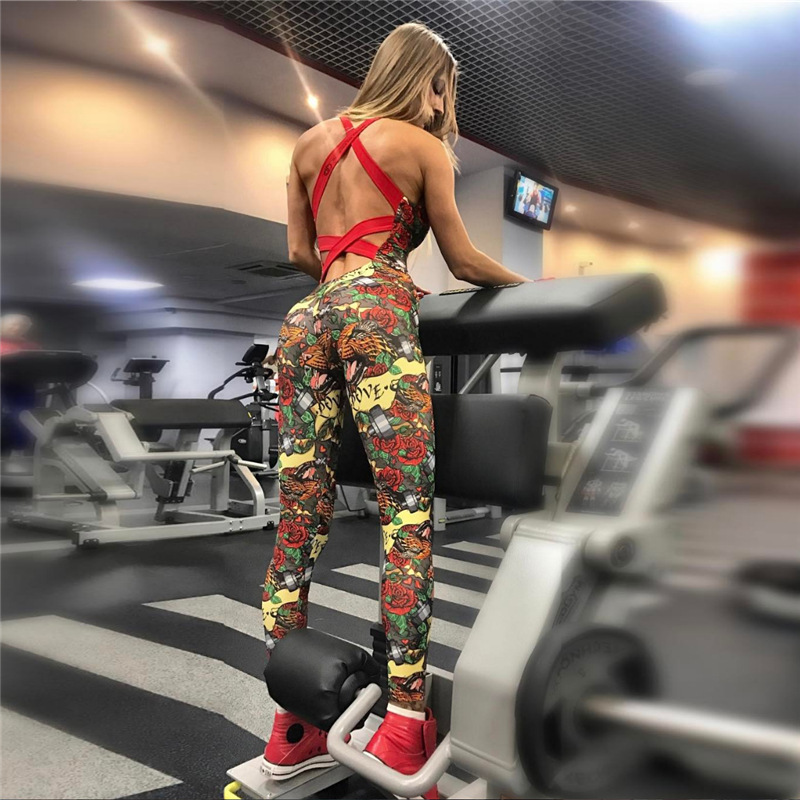 2019 Sexy Backless Lace Up Printed Rompers Women   Jumpsuit   O-Neck Overalls Fitness Workout Bodysuit Female Playsuit