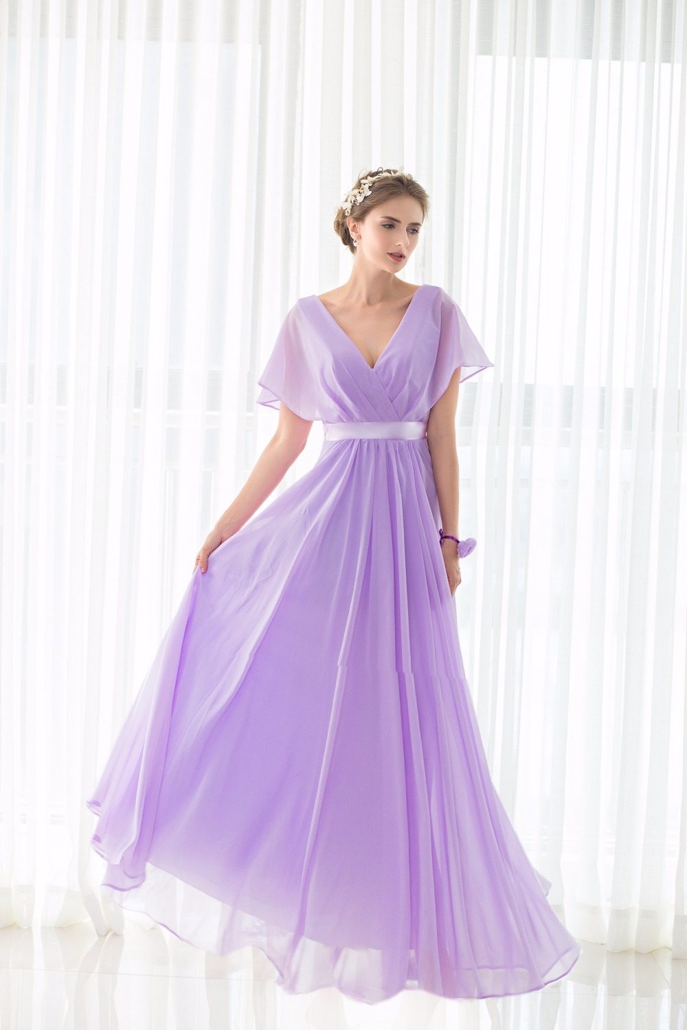 Real Pictures robe honneur Long Lilac Bridesmaid Dresses Short Sleeves V neck Floor Length Chiffon Bridesmaid Gown Free Shipping 3