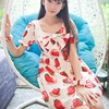 Sweet Princess Kawaii Strawberry Print Bow Basic One Piece Dress
