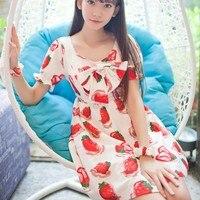 Sweet Princess Kawaii Strawberry Print Bow Basic One Piece Dress