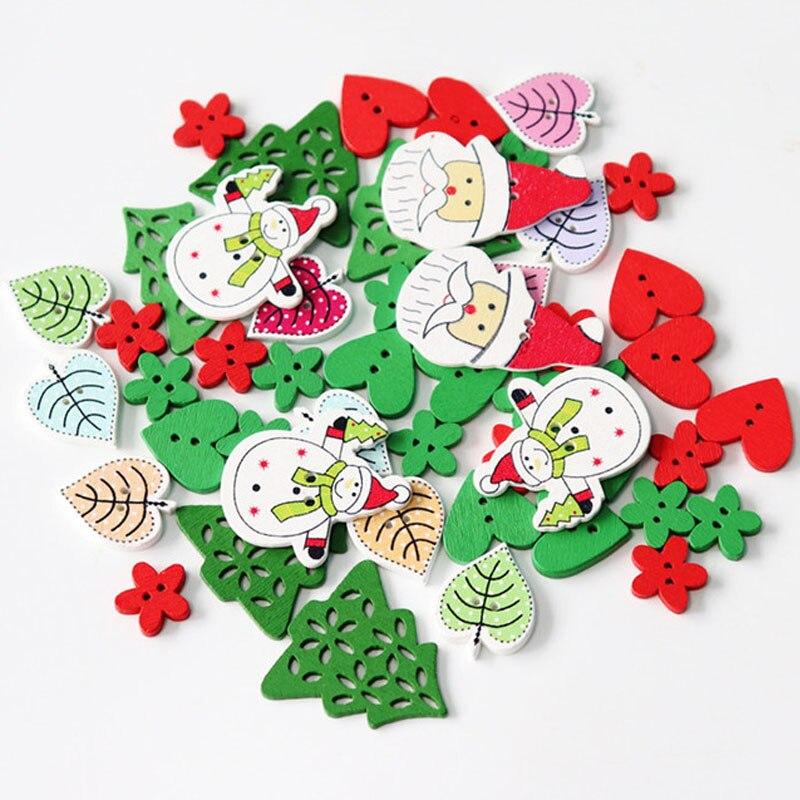 50 pc טבעי הדפסת עץ חג המולד פתית שלג כפתורי עץ לב עלים גרב תפירת כפתורי Scrapbook DIY קרפט כפתורי עץ