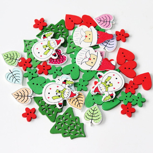 50pc natural print wooden christmas buttons snowflake tree heart leaves sock sewing buttons scrapbook diy craft - Christmas Buttons