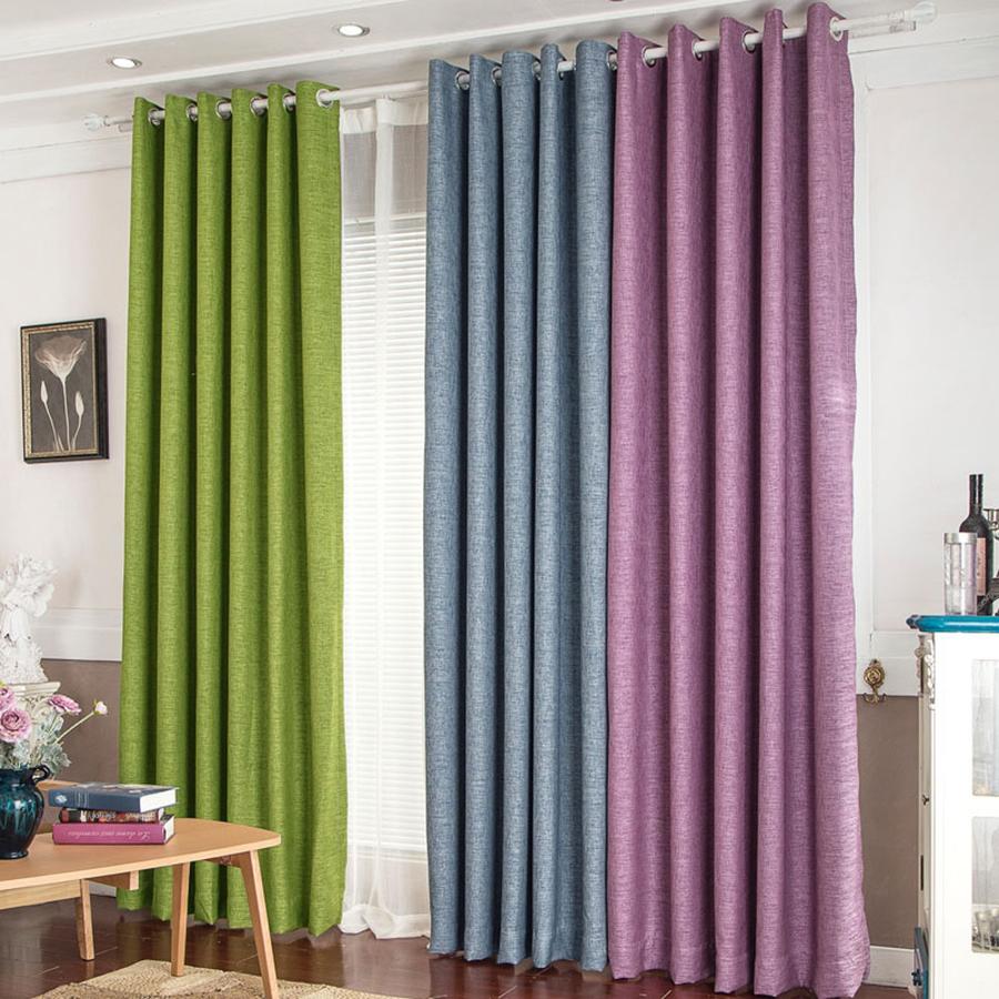 grueso slido de algodn tela de la cortina moderna minimalista hilo de lino cortinas de