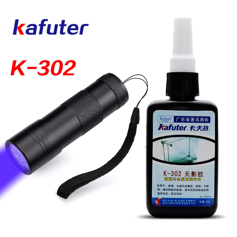 Strong 50ml Kafuter UV Glue UV Curing Adhesive K-302+12LED UV Flashlight UV Curing Adhesive Crystal Glass and Metal Bonding kafuter 50ml uv glue uv curing adhesive k 300 transparent crystal and glass adhesive