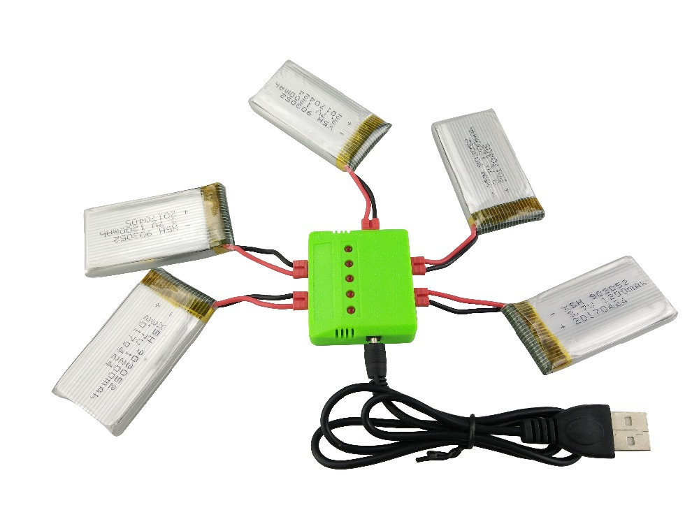 New Syma X5HW X5HC RC Quadcopter <font><b>Battery</b></font> Ultra-high Capacity <font><b>3.7V</b></font> <font><b>1200mAh</b></font> <font><b>Lipo</b></font> <font><b>Battery</b></font> and 5 in 1 Cable Spare Parts image