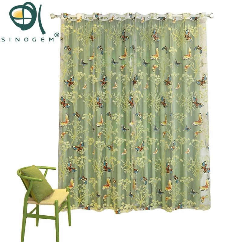 Sinogem Ranting & Kupu-kupu desain Baru Tirai untuk Ruang Tamu Tirai - Tekstil rumah
