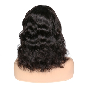 Image 4 - Peruvian Short  Wave Bob Wig 2x6 Lace Front Human Hair Wigs PrePlucked Glueless Remy 180% Density Natural Color Wigs For Women