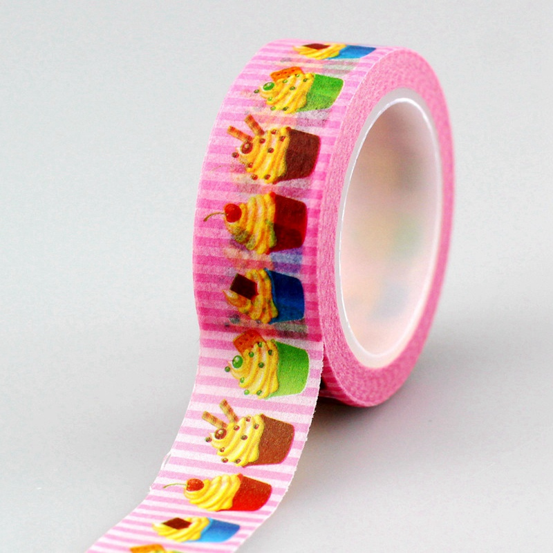 2PCS/lot 1.5cm*10m/roll Cute Pink Cup Cake Washi Tape DIY Decoration Scrapbook Planner Masking Tape Adhesive Kawaii Stationery