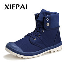 Herfst Winter Mannen Canvas Laarzen Army Combat Stijl Mode Hoge-top Militaire Enkellaarsjes Herenschoenen Comfortabele Sneakers(China)