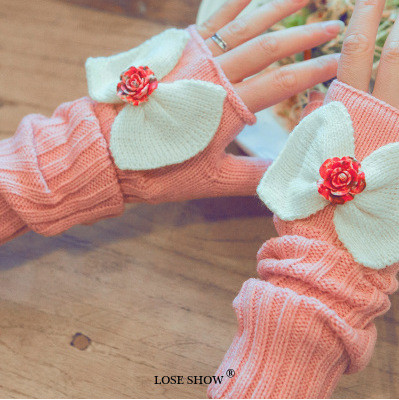 Rose Flower Bowknot Women's Gloves Wrist Arm Warmer Winter Spring Fingerless Mitten