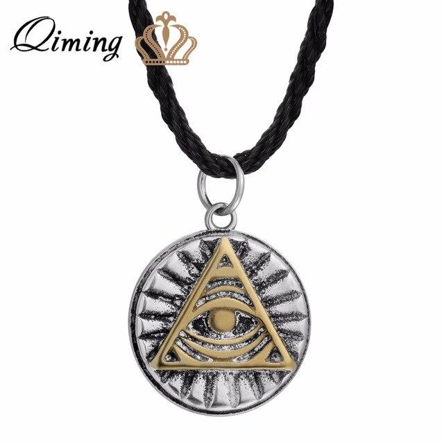 Aliexpress Buy Qiming Mayan Pyramid Men Necklace All Seeing