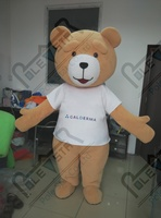 white T shirt teddy bear mascot costumes custom logo accept brown bear