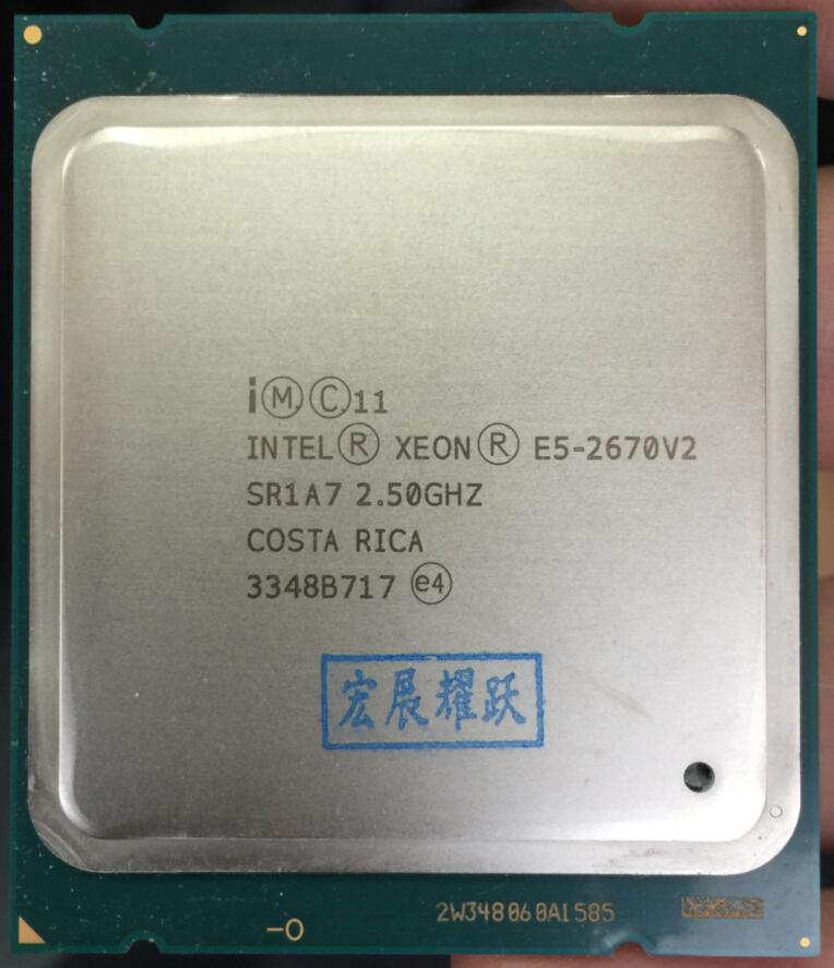 Intel Xeon Serv Processeur E5-2670 V2 E5 2670 V2 CPU 2.5 LGA 2011 SR1A7 Dix Noyaux De Bureau processeur e5 2670V2 100% travail normal