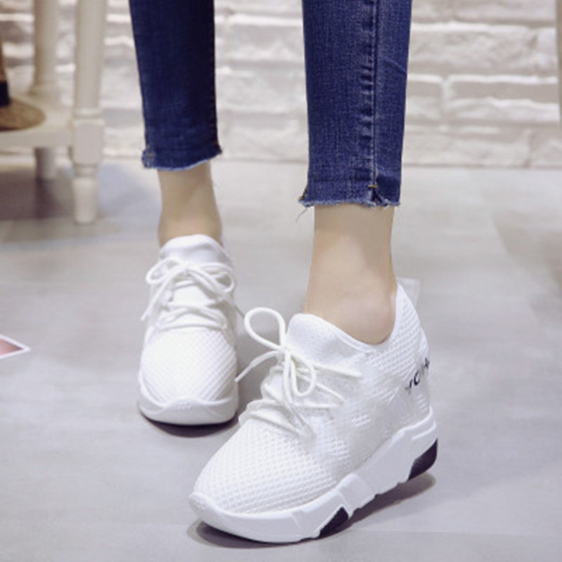 10cm Thick Sole 2018 Ladies Fashion Casual Shoes Mesh Breathable Inner Height Shoes Superstar Chaussures de sport 29