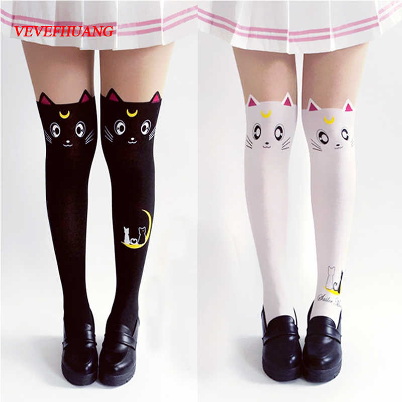 VEVEFHUANG Hot Anime Sailor Moon Cosplay Costume Donne Luna Gatto Calze Collant Di Seta Calze Leggings Calze in Bianco E Nero