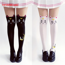 VEVEFHUANG Hot Anime Sailor Moon Cosplay Costume Women Luna Cat Socks Pantyhose Silk Tights Leggings Stockings Black And White