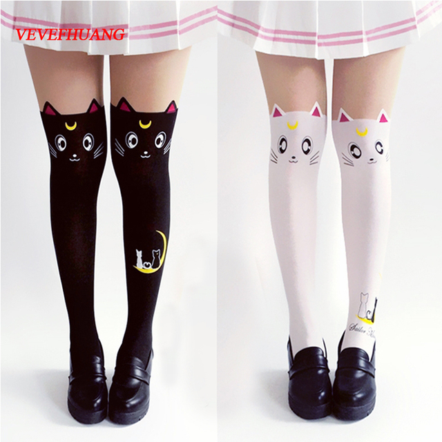 8ef144b8407 VEVEFHUANG Hot Anime Sailor Moon Cosplay Costume Women Luna Cat Socks  Pantyhose Silk Tights Leggings Stockings