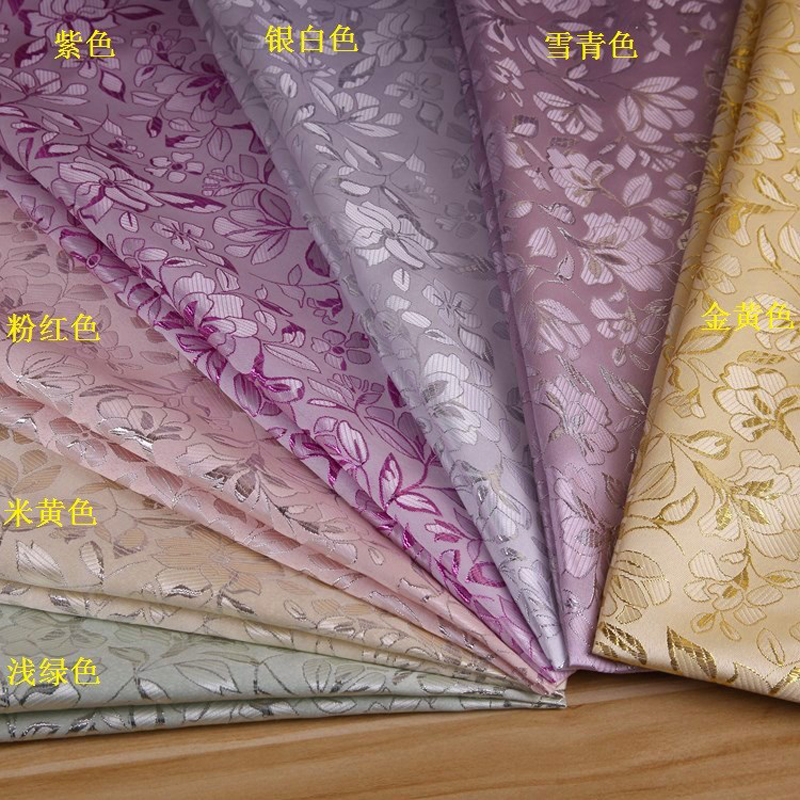 New Upscale Home Decor Clothing Material Width150cm Flower style gold and silver silk jacquard ...