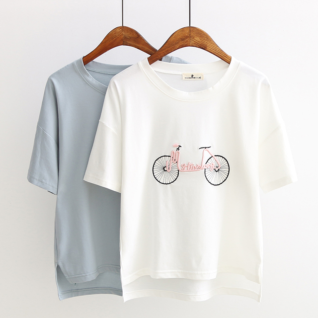 48dbfc4a498 2019 Summer New T Shirt for Women Embroidery Design Tee Tops Harajuku Short  Sleeve Cotton T-Shirt Casual Shirt 32890